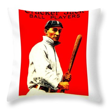 Throw Pillow featuring the painting Ty Cobb 1914 Baseball Card by Peter Gumaer Ogden