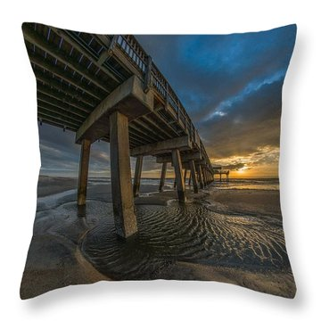 Tybee Island Beach Pier  Throw Pillow
