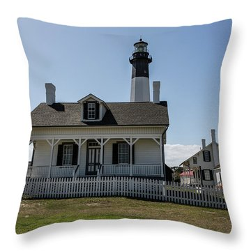 Throw Pillow featuring the photograph Tybee Island Lighthouse by Kim Hojnacki