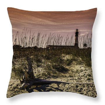 Tybee Lighthouse Sunset Throw Pillow
