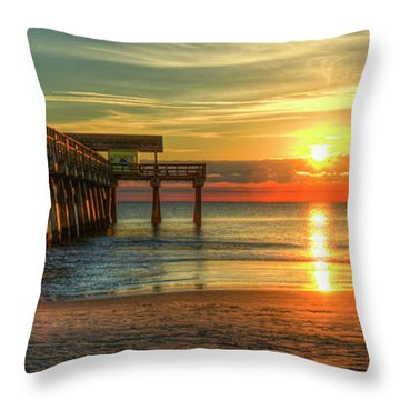 Throw Pillow featuring the photograph Tybee Pier Panorama Sunrise Art by Reid Callaway