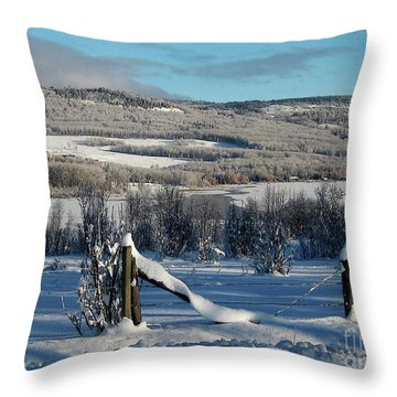 Tyee Lake From Hi-road, Winter Throw Pillow