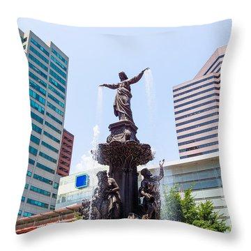 Tyler Davidson Fountain Cincinnati Ohio  Throw Pillow by Paul Velgos