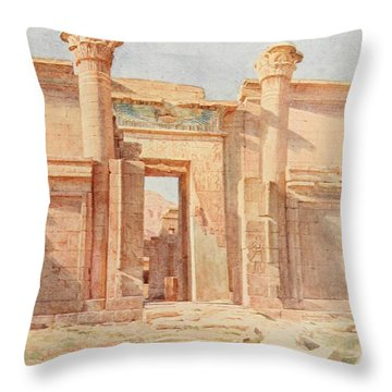 Tyndale, Walter 1855-1943 - Below The Cataracts 1907, The Ptolemaic Pylon, Medinet Habu Throw Pillow