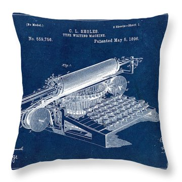 Type Writing Machine Patent From 1896 - Blue Throw Pillow