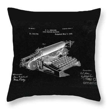 Type Writing Machine Patent From 1896  - Black Throw Pillow