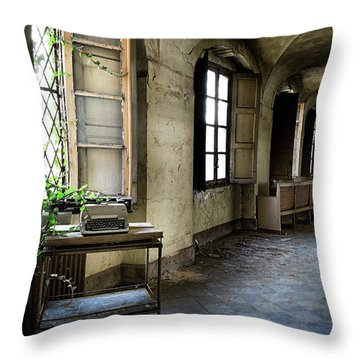 Throw Pillow featuring the photograph Typewriter Story Of Abandoned Building - Urbex Exploration by Dirk Ercken