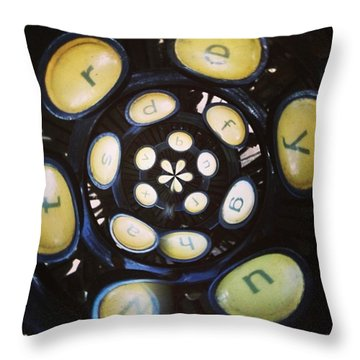 Typewriter Key Rose Throw Pillow by Heather Classen