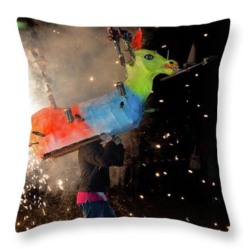 Typical Festival Plaza South Italy Throw Pillow