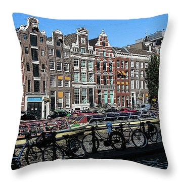 Typical Houses In Amsterdam Throw Pillow