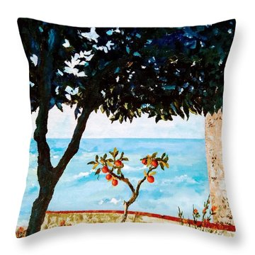 Throw Pillow featuring the painting Typical Mediterranean by Ray Khalife