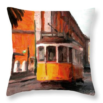 Typical Yellow Tram In Lisbon Throw Pillow