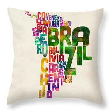 Typography Map Of Central And South America Throw Pillow