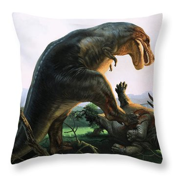 Tyrannosaurus Rex Eating A Styracosaurus Throw Pillow by William Francis Phillipps