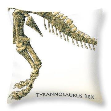 Tyrannosaurus Rex Skeleton Throw Pillow by Bob Orsillo