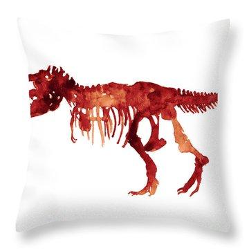 Tyrannosaurus Rex Skeleton Poster, T Rex Watercolor Painting, Red Orange Animal World Art Print Throw Pillow