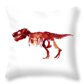 Tyrannosaurus Rex Skeleton Poster, T Rex Watercolor Painting, Red Orange Animal World Art Print Throw Pillow