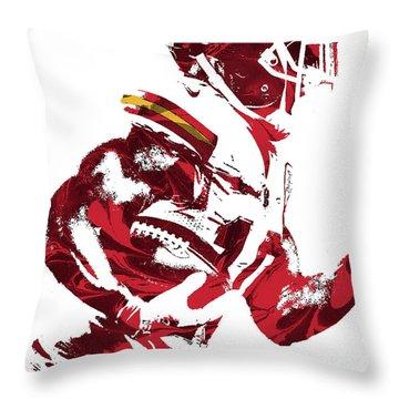 Throw Pillow featuring the mixed media Tyreek Hill Kansas City Chiefs Pixel Art 1 by Joe Hamilton