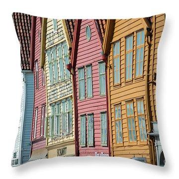 Tyske Bryggen, Bergen Throw Pillow