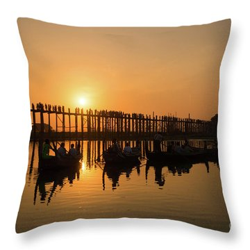 U Bein Bridge At Sunset Throw Pillow