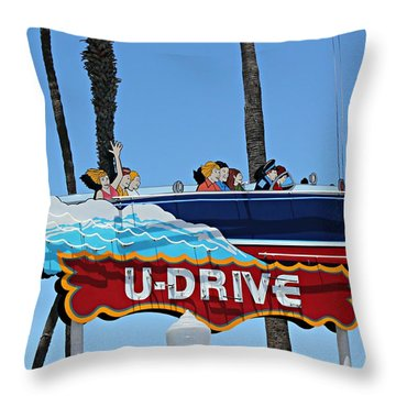 U-drive Boat Sign Throw Pillow