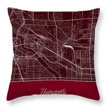 U Of M Street Map - University Of Minnesota Minneapolis Map Throw Pillow