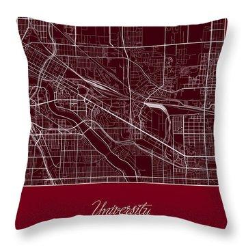 U Of M Street Map - University Of Minnesota Minneapolis Map Throw Pillow by Jurq Studio