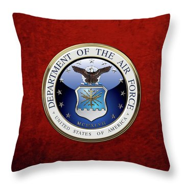 U. S.  Air Force  -  U S A F Emblem Over Red Velvet Throw Pillow
