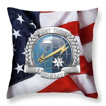 U. S.  Air Force Combat Control Teams - Combat Controller C C T Badge Over American Flag Throw Pillow by Serge Averbukh