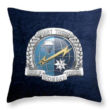 U. S.  Air Force Combat Control Teams - Combat Controller C C T Badge Over Blue Velvet Throw Pillow by Serge Averbukh
