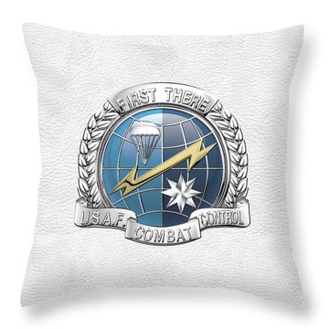 U. S.  Air Force Combat Control Teams - Combat Controller C C T Badge Over White Leather Throw Pillow by Serge Averbukh