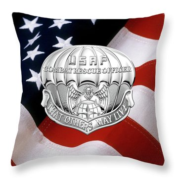 U. S.  Air Force Combat Rescue Officer - C R O Badge Over American Flag Throw Pillow by Serge Averbukh