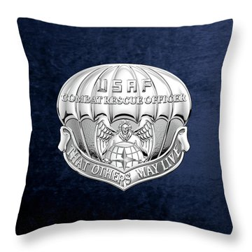 U. S.  Air Force Combat Rescue Officer - C R O Badge Over Blue Velvet Throw Pillow by Serge Averbukh