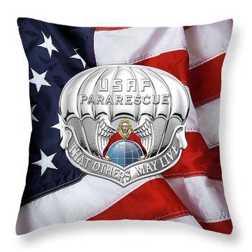 U. S.  Air Force Pararescuemen - P J Badge Over American Flag Throw Pillow by Serge Averbukh