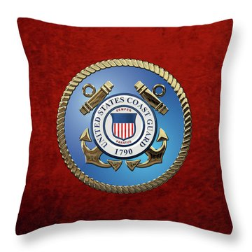 U. S. Coast Guard - U S C G Emblem Throw Pillow