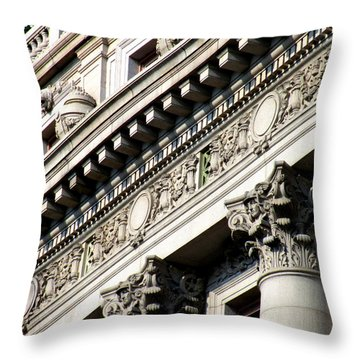 U S Custom House 2 Throw Pillow by Randall Weidner