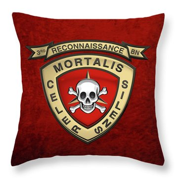 U S M C  3rd Reconnaissance Battalion -  3rd Recon Bn Insignia Over Red Velvet Throw Pillow