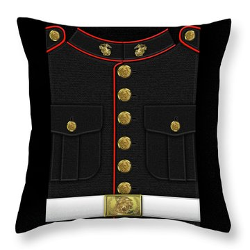 U S M C Dress Uniform Throw Pillow