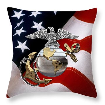 U S M C Eagle Globe And Anchor - C O And Warrant Officer E G A Over U. S. Flag Throw Pillow