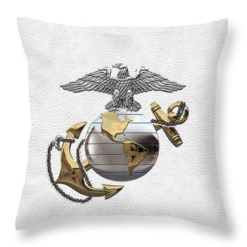 U S M C Eagle Globe And Anchor - C O And Warrant Officer E G A Over White Leather Throw Pillow
