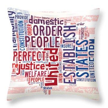 U S Map Preamble Word Cloud4 Throw Pillow