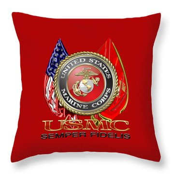 U. S. Marine Corps U S M C Emblem On Red Throw Pillow
