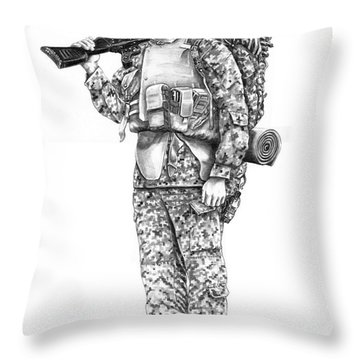U S Marine Throw Pillow by Murphy Elliott