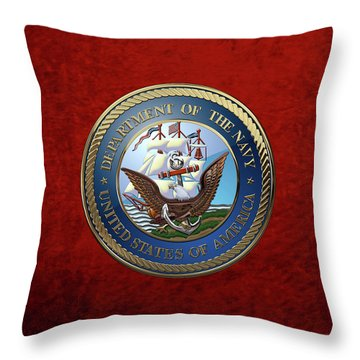 U. S.  Navy  -  U S N Emblem Over Red Velvet Throw Pillow