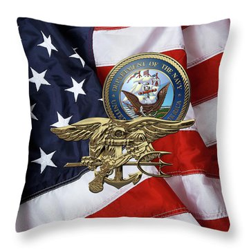 U. S. Navy S E A Ls Trident Over American Flag  Throw Pillow