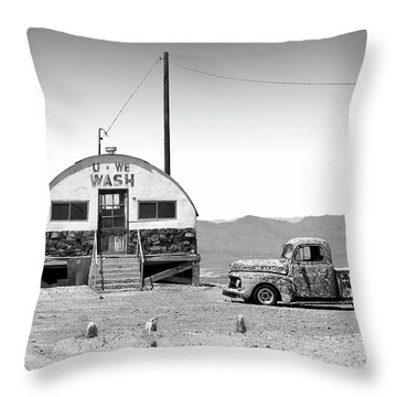 Throw Pillow featuring the photograph U - We Wash - Death Valley by Mike McGlothlen