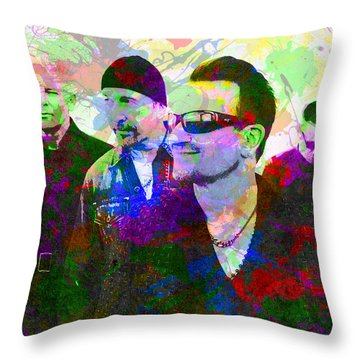U2 Band Portrait Paint Splatters Pop Art Throw Pillow