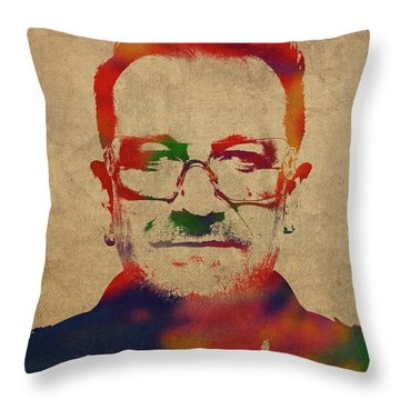 U2 Bono Watercolor Portrait Throw Pillow