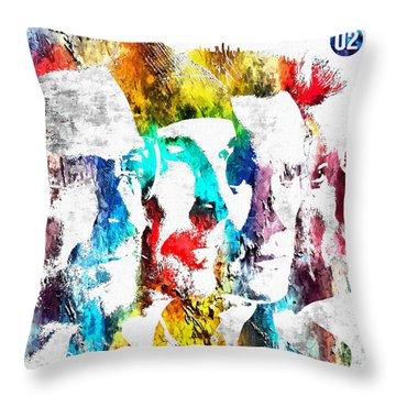 U2 Grunge Throw Pillow by Daniel Janda