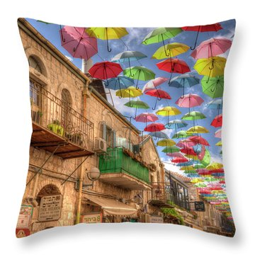 Umbrellas Over Jerusalem Throw Pillow